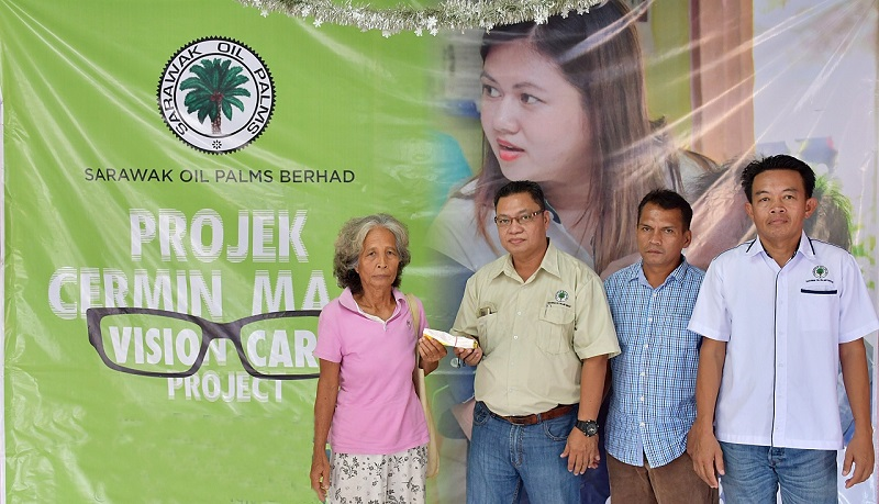 (From left) A longhouse resident receives her new spectacles from Benedict, witnessed by Buli and Budut